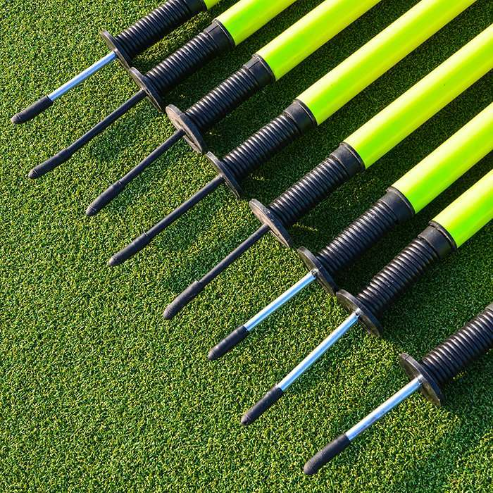 Spring Loaded High Visibility Slalom Poles for Fitness Training